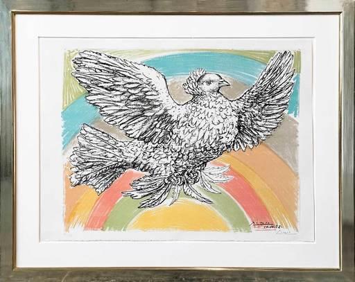 Pablo PICASSO - Print-Multiple - Colombe Volant à l'Arc-en-Ciel