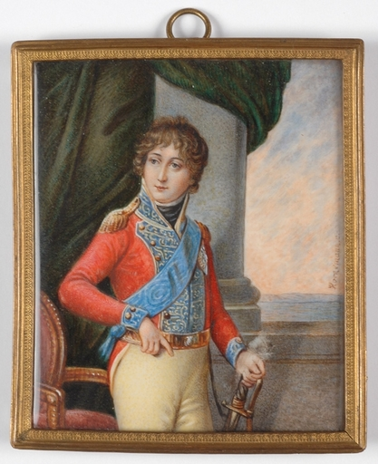 "Christian HORNEMANN - Miniature - ""Crown Prince of Denmark"", Portrait Miniature"