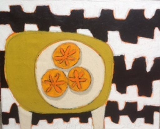 Gordon HOPKINS - Painting - KAKIES ON GREEN TABLE STILL LIFE