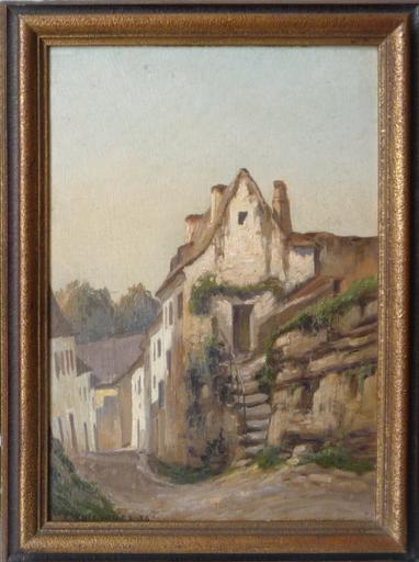 Ferdinand AUSQUICHOURY - Painting - rue a crysse mouleydier dordogne octobre 1930