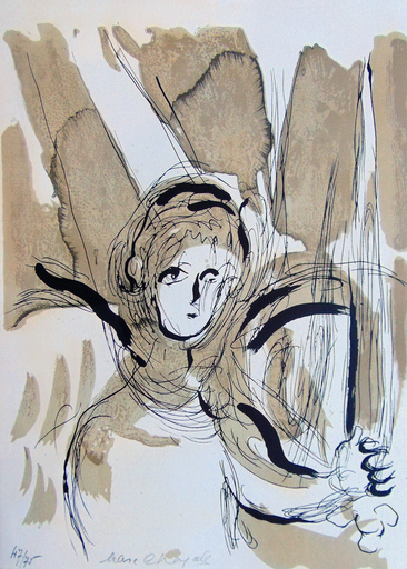 Marc CHAGALL - Print-Multiple - Angel with Sword, from: The Bible | L'ange à l'épée