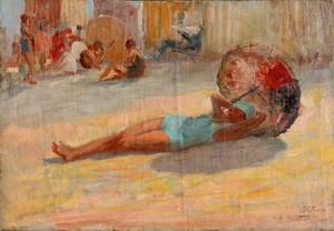 "Gaston HOFFMANN - Pittura - ""A LA PLAGE"""