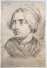 Jean-Baptiste GREUZE - Drawing-Watercolor - Femme au bonnet