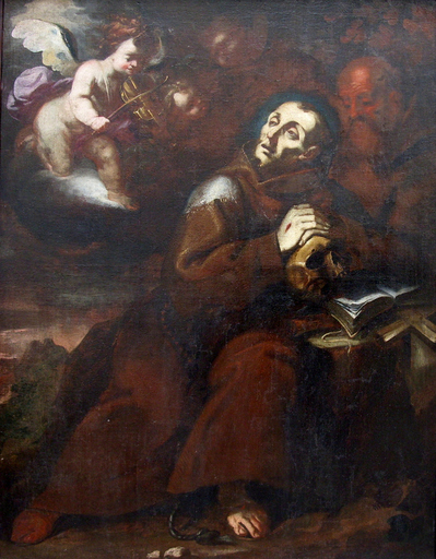 Giovan Battista DISCEPOLI LO ZOPPO DA LUGANO - Painting - Concerto angelico a San Francesco