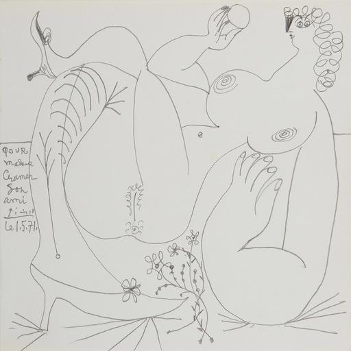 巴勃罗•毕加索 - 水彩作品 - Nu allongé, les jambes croisées