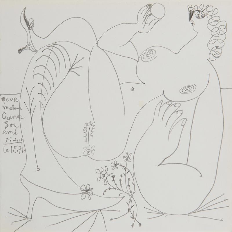 Pablo PICASSO - Zeichnung Aquarell - Nu allongé, les jambes croisées
