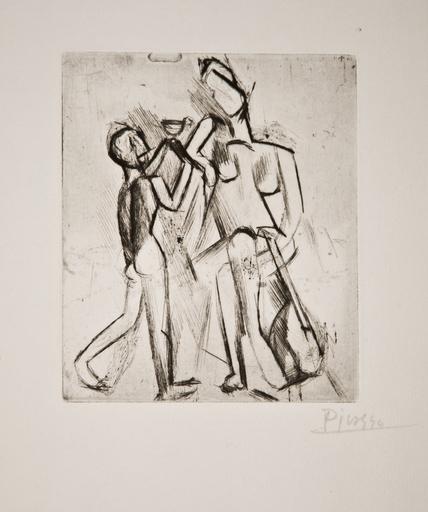 Pablo PICASSO - Stampa-Multiplo - Deux figures nues: Femme à la guitare et garçon à la c