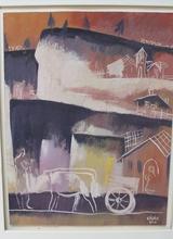 Béla KADAR - Painting - Carro di buoi nel paesaggio