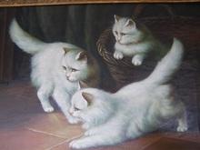 Gérard PASSET - Pintura - Katten aan het spelen