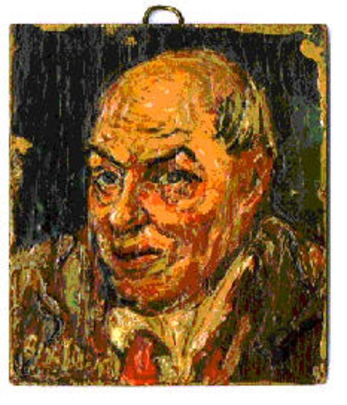 "David BURLIUK - Gemälde - Triptych of portraits ""My Family."""