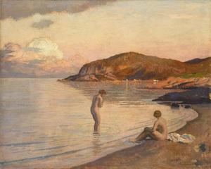 Émile René MENARD - Painting - Baigneuses sur la plage