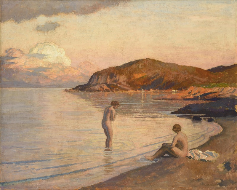 Émile René MENARD - Pittura - Baigneuses sur la plage