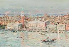 Jean RIGAUD - Painting - Venise, Vue de San Giorgio