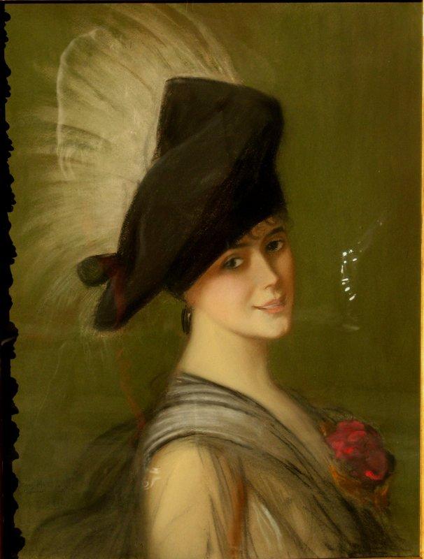 "Alfredo RAMOS MARTINEZ - Drawing-Watercolor - ""JEUNE FEMME AU CHAPEAU A PLUME"""