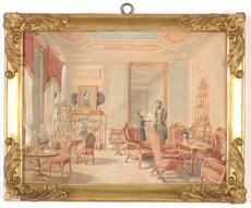 "Franz ALT - Dibujo Acuarela - ""Vienna Biedermeier Interior"", watercolor, ca. 1850"