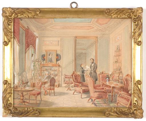 "Franz ALT - Disegno Acquarello - ""Vienna Biedermeier Interior"", watercolor, ca. 1850"