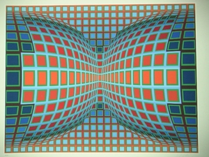 Victor VASARELY, Composition Double Bleu et Rouge