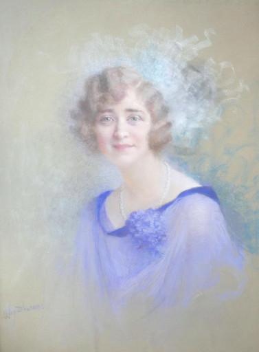 Lucien LÉVY-DHURMER - Dessin-Aquarelle - Portrait de femme au collier de perles