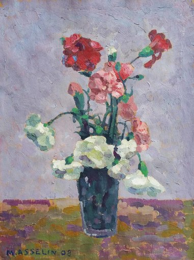 Maurice ASSELIN - Pintura - Bouquet d'oeillets