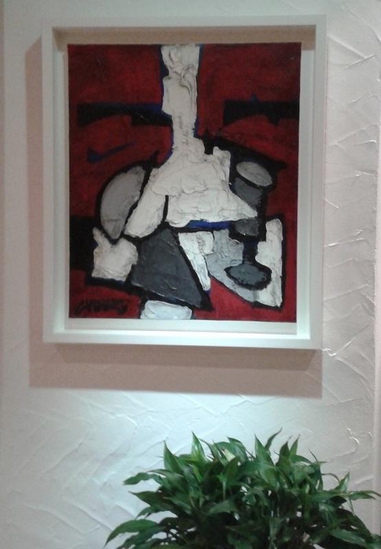 Claude VENARD - Pittura - Composition Rouge au Verre à Pied