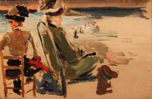 Paul Michel DUPUY - Painting - Plage de Biarritz