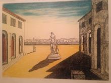 Giorgio DE CHIRICO - Stampa Multiplo - Piazza d'Italia con Efebo