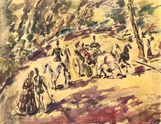 Arturo SOUTO - Drawing-Watercolor - Promenade dans le parc