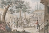 "Francesco NOVELLI - Zeichnung Aquarell - ""Soldiers in Courtyard of a Tavern"" , ca 1820"