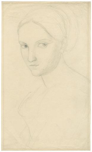Peter RITTIG - Zeichnung Aquarell - Vittoria Caldoni, Büste nach links.