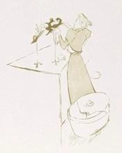 亨利•德•图卢兹-洛特雷克 - 版画 - La Modiste Renée Vert - 1° Etat avant la lettre