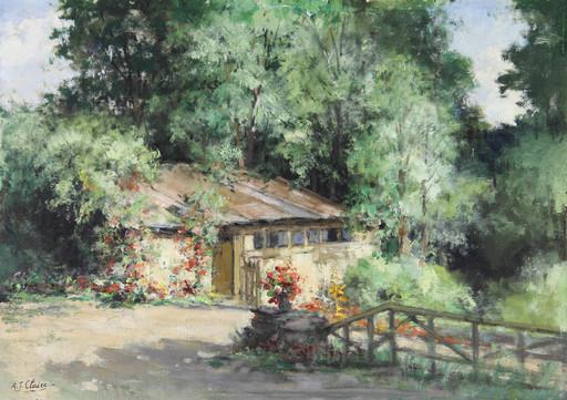 Auguste-Jean CLAIRE - Pittura - Le cabanon fleuri