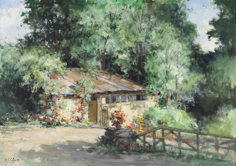 Auguste-Jean CLAIRE - Pintura - Le cabanon fleuri