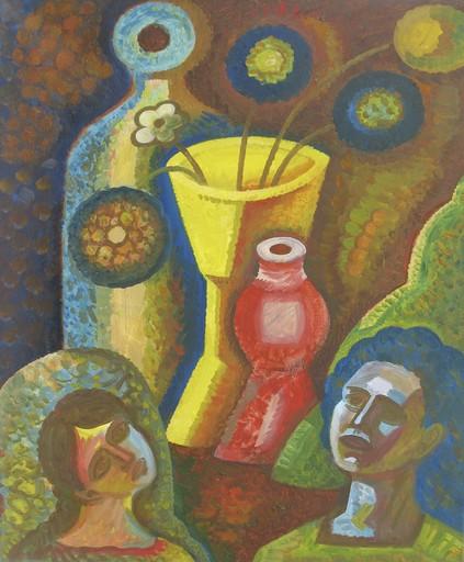 "Sergey BORISOV - Pintura - Bouquet ""Romantic still life"" woman man portrait flowers"