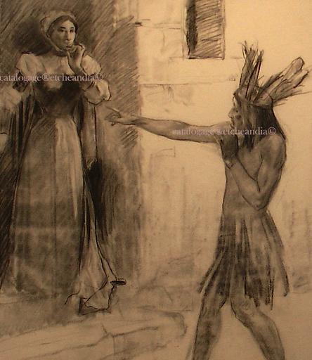 Ulpiano CHECA Y SANZ - Drawing-Watercolor - Tabaré -   CHARRUA - Indien Amérique