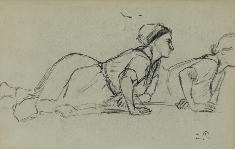 Camille PISSARRO - Disegno Acquarello - Deux Femmes