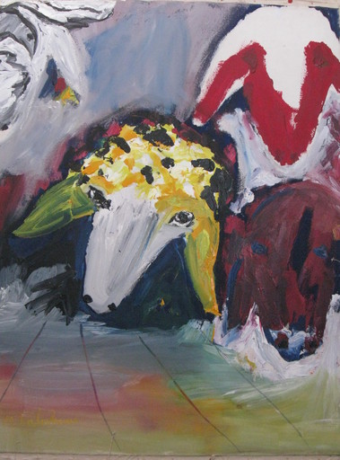Menashe KADISHMAN - Pintura - * Three Sheep, Oil on Canvas, 45 x 35