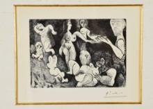 Pablo PICASSO - Print-Multiple - Marin rêveur avec deux femmes, couple, spectatrice