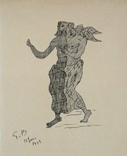 Georges BRAQUE - Drawing-Watercolor - Mythological Figure