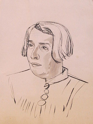 Erich HARTMANN - Disegno Acquarello - #19915: Junge Frau im Halbprofil.