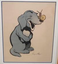 Benjamin RABIER - Drawing-Watercolor - Le chien et l'escargot