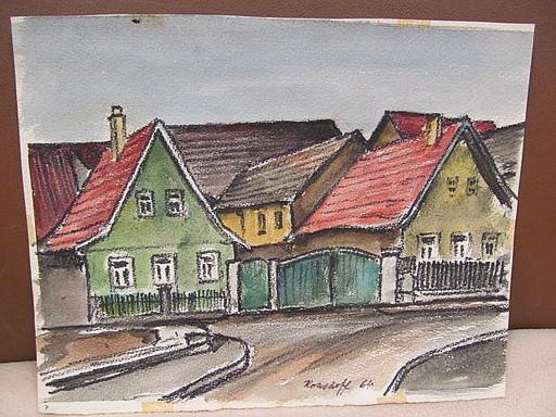 Walter KOHLHOFF - Disegno Acquarello - Dorfhäuser an Straße