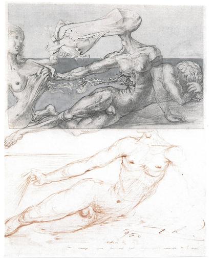 Salvador DALI - Drawing-Watercolor - Creation of Eve