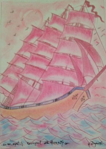 Gérard DUPIRÉ - Drawing-Watercolor - Bateau L'aur or