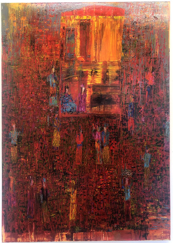 Reza DERAKSHANI - Pintura - Sunset Garden Party