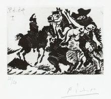 Pablo PICASSO - Estampe-Multiple - Reître enlevant une Femme pour un Cavalier; Pl.146 from 'Sé
