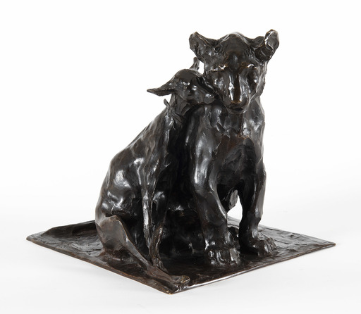 伦勃朗·布佳迪 - 雕塑 - Lionceau et lévrier assis l'un contre l'autre