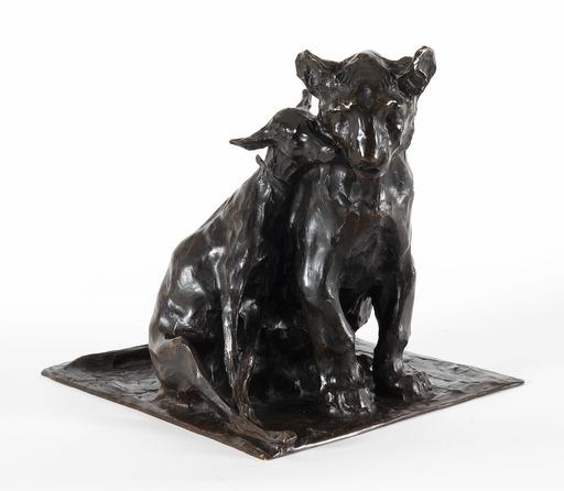 Rembrandt BUGATTI - Skulptur Volumen - Lionceau et lévrier assis l'un contre l'autre