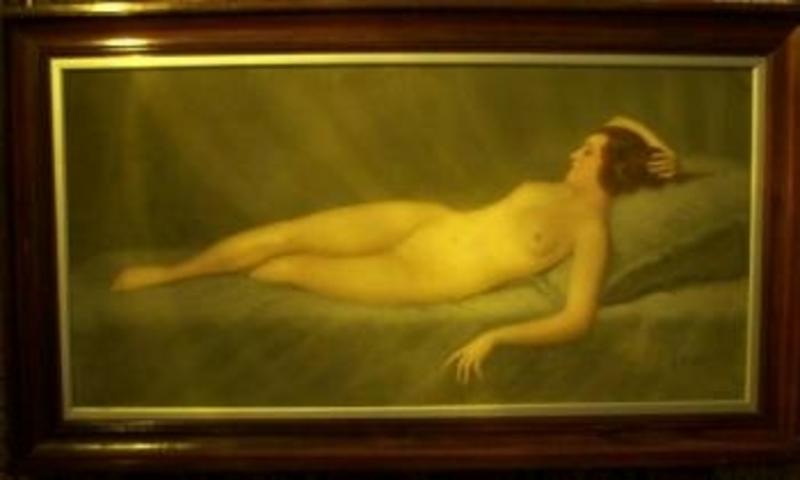 Pierre Alexis LESAGE - Pittura - Jeune Odalisque endormie
