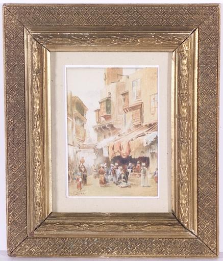 """Federico BUZZI - Disegno Acquarello -  """"Bazaar in Cairo"""", Orientalist Watercolor, 1880's"""