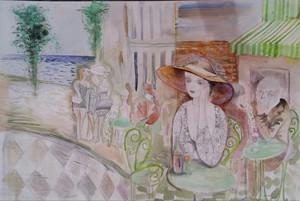 Jacob GILDOR - Dessin-Aquarelle - Cafe in South of France